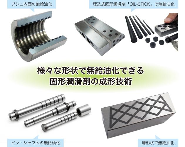 様々な形状で無給油化できる固形潤滑剤の成形技術