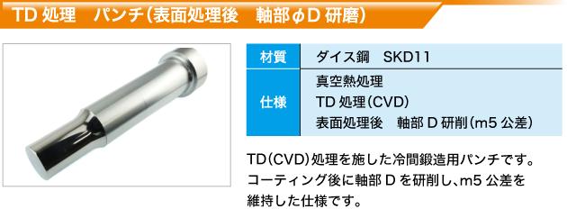 TD処理 パンチ(表面処理後 軸部φD研磨)